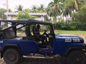 Our jeep and guide to a fishing villange