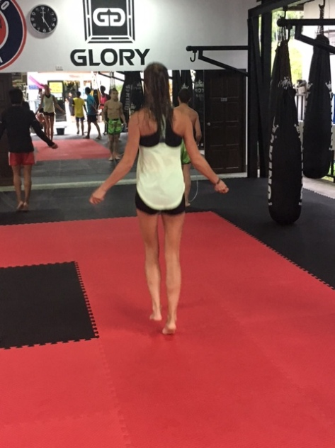 Warming up for Muay Thai training
