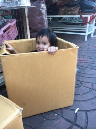 Little kid playing with a cardboard box